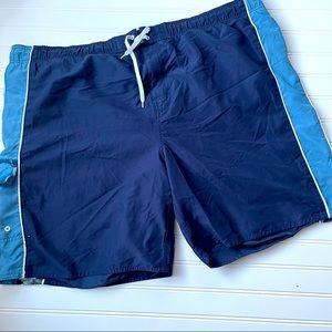 Navy Hawaiian Swim Trunks Boardshorts Size XXL